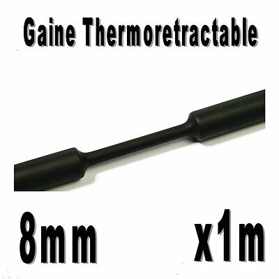 Gaine Thermo Rétractable 2:1 - Diam. 8 mm - Noir - 1m