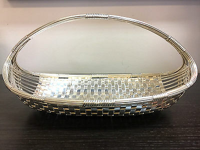 Eisenberg-Lozano Silver Plate Woven Fruit Basket With Handle
