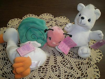 Precious Moments Tender tails Lot of 3 New Snail Bear & Duck New with tags