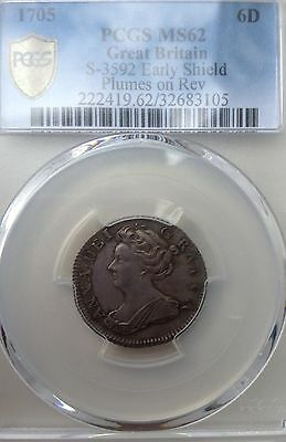 1705 Queen Anne Plumes REV Sixpence PCGS MS62 Graded
