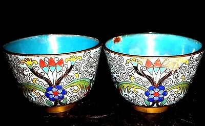 Pair Of Antique Chinese 19Th Century Turquoise Blue Cloisonne Enamel Bowls