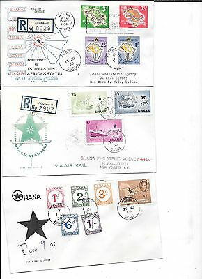 7 Ghana First Day Covers Cover 1958-1960 1 Postage Due 3 Registered Gold Coast