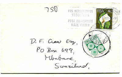 Swaziland 1976 postage cover from South Africa