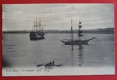 Postcard POSTED 1908 H.M.SHIPS FORMIDABLE & POLLY PORTISHEAD SOMERSET