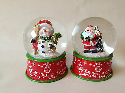 2 x  Father Christmas, Snowman Snow Globe Home Decoration Gift Present 10