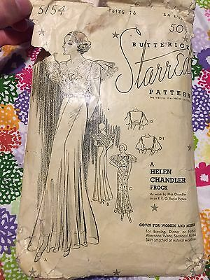 "Butterick 1930's Helen Chandler Frock, 5154, 34"" Bust, Complete, As Is Envelope"