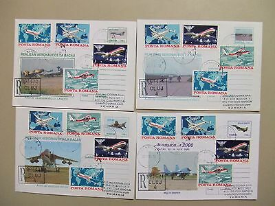 Four MILITARY AIRPLANES registered postal stationery envelopes
