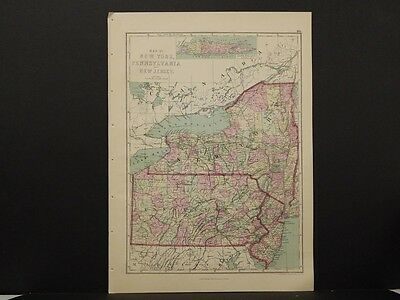 United States Map, 1873 New York, Pennsylvania, New Jersey Q4#03