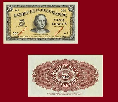 Guadeloupe 5 Francs banknote 1942. UNC - Reproduction