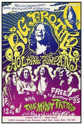 Janis Joplin POSTER **VERY LARGE** & the Holding Company PSYCHEDELIC Moby Grape