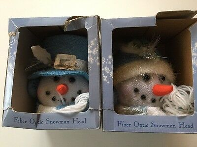 "Fiber Optic SNOWMAN Head Pair Christmas HOLIDAY 12"" Colors Change Continuously"