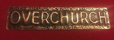 "Arts & Crafts Hand Beaten Copper House Name Plaque ""OVERCHURCH"""