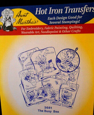 """Aunt Martha's Hot Iron On Transfer # 3681 """"The Busy Bee"""""""