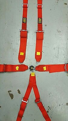 OMP 802 6 point Harness Hans in Red.