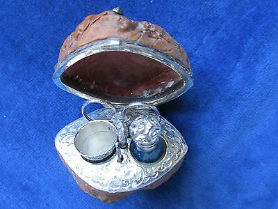 Antique Silver Miniature Walnut Sewing Set