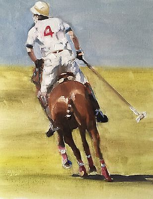 Polo Player J. Coates Original Oil Painting Art 10 X 8 Inches