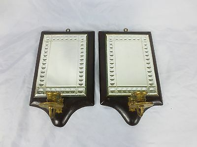 Antique Pair MIRRORED WOOD WALL SCONCE CANDLE HOLDERS Light Reflective