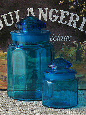 Vintage Le Smith Blue Glass Canister Set Apothecary Jars Mid Century Modern