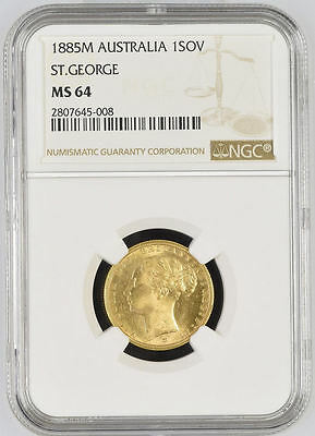 1885 Queen Victoria Australia Melbourne Mint Gold Sovereign Coin NGC MS 64