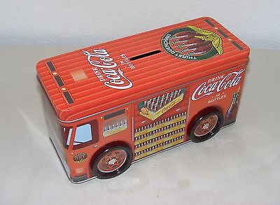 Coca Cola Tin Truck Coin Bank With Rotating Wheels