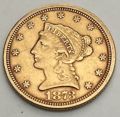 1873 $2.50 Liberty US Gold Open 3. Raw XF+