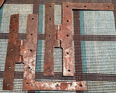 18Th. Century H&l Door Hinges Early Handwrought Vermont Farmhouse Hardware *nice