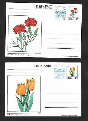 Turkey 1983 Flowers 2 Posta Karti Postoffice Postcard