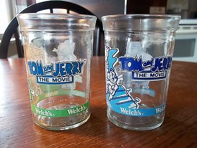 2-Welch's Jelly Jar Glass - Tom and Jerry The Movie - 1993