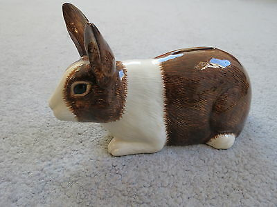 Brown & White Rabbit Ceramic Money Box with Stopper by Quail Pottery / No Box