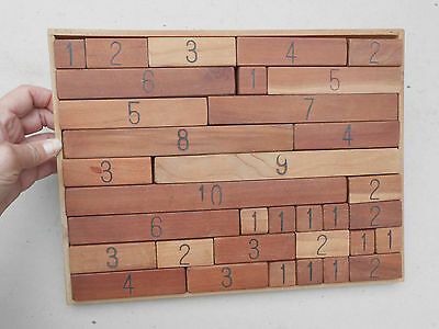 Vintage Handmade Wood Puzzle with Blocks Add up to 12
