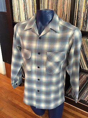 Vintage 50s/60s Pendleton Blue Plaid Wool Loop Collar Board Shirt Med