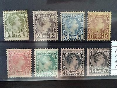 Monaco 1885 Prince Charles Heads set of 8 Stamps Fine Mint