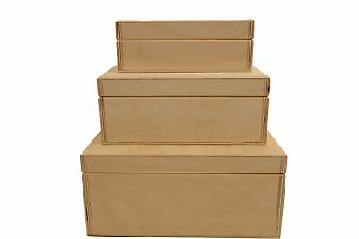 Set of Plain Wooden Boxes 3in1 Decoupage Craft Jewellery Gift Box High Quality