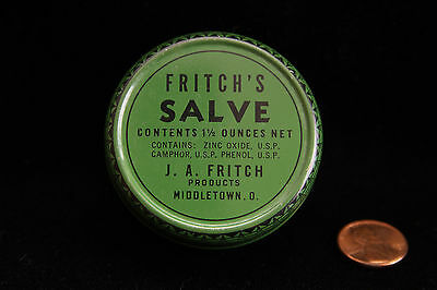 """Vintage Empty Tin - Fritch's Salve - Middletown O - JA Fritch Products - 2 1/4"""""""