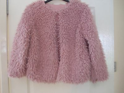 Girls Pink Teddy Faux Fur Jacket age 8-9 years BNWT