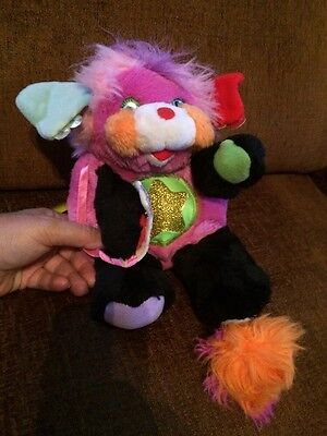 """1986 Vintage Popples Stuffed Toy Rock Star Punkity with Microphone 10"""""""