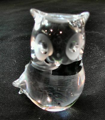 "Small Langham clear Glass Owl 3"" tall."