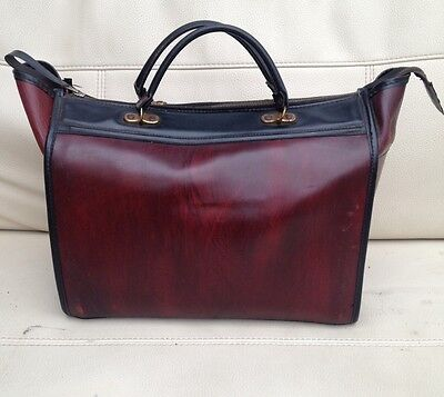 Vintage Leather Medical Doctors Bag Double Handle With Zipper