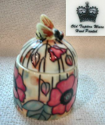 'Old Tupton Ware' ceramic Yellow Honey / preserve Pot POPPY piped outline