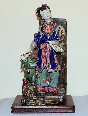 """Antique 11"""" Chinese Shiwan Hollow Mud Signed Pottery Figurine on Mahogany Stand"""