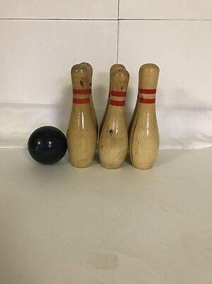 6 Wooden Bowling Pins With Ball