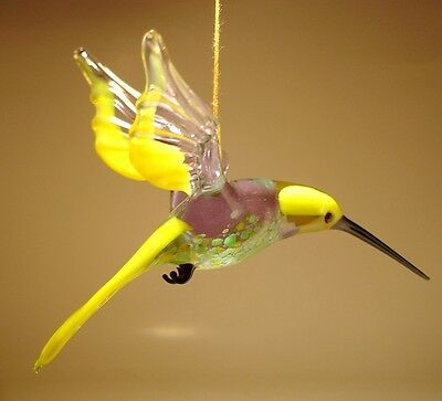 Blown Glass Figurine Bird Hanging Yellow, Clear and Green HUMMINGBIRD Ornament