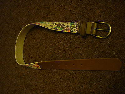 M&S - girls belt - fabric & leather - age 6-8 - NEW
