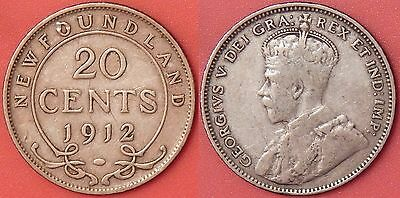 Very Good 1912 Canada Newfoundland Silver 20 Cents