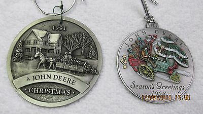 John Deere G Tractor 1998 Pewter Christmas Ornament 3rd in Series, 1991 LOT