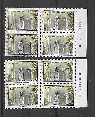 Cyprus Errors 1975 Definitive 3m , 2 Block of Four Different Colour MNH
