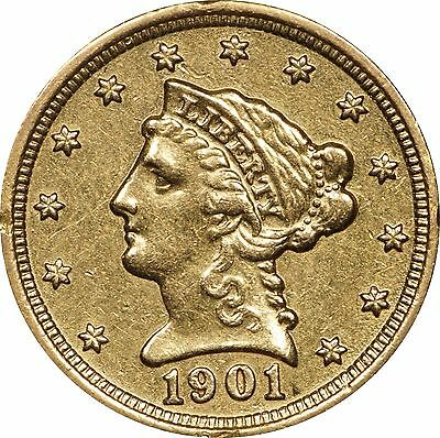 1901 P $2.50 Gold Liberty, Circulated, Cleaned