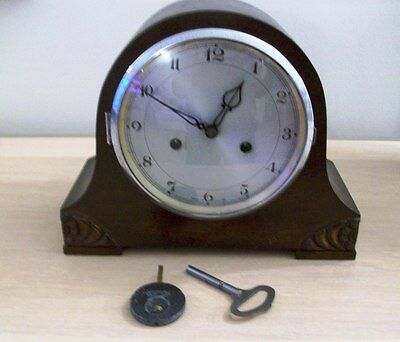 An Antique Wood Mantel Clock.  With Key& Pendulum  Approx  1920/130 Made In U.k