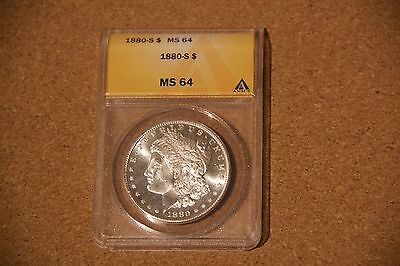 """1880 """"S"""" Morgan Silver Dollar ANACS MS 64 - highly collectable - lovely coin"""