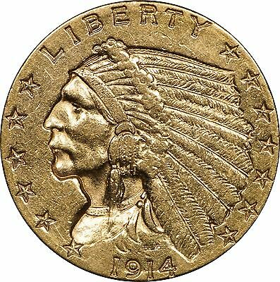 1914 P $2.50 Gold Quarter Eagle, Circulated, Cleaned